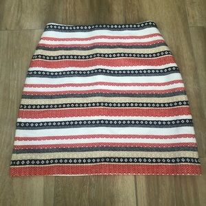 {LOFT} Striped Fully Embroidered Lined Skirt